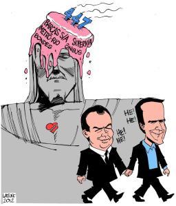 Charge de Latuff critica conivência de Cabral e Eduardo Paes com a baixa qualidade do transporte público no Rio de Janeiro